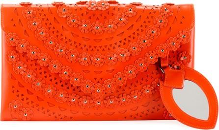 Alaïa Oum Laser-Cut Leather Clutch Bag with Flowers