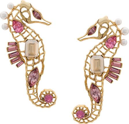 Oscar De La Renta Encrusted seahorse earrings