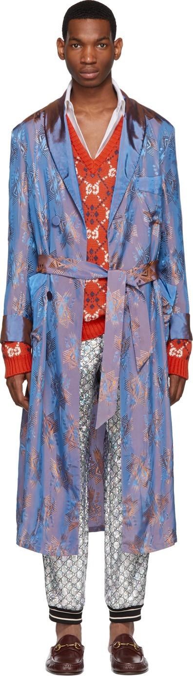 Gucci Blue & Orange Viscose Jacquard Shimmering Coat
