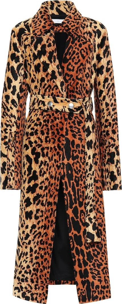 Victoria Beckham Leopard-print silk-blend coat