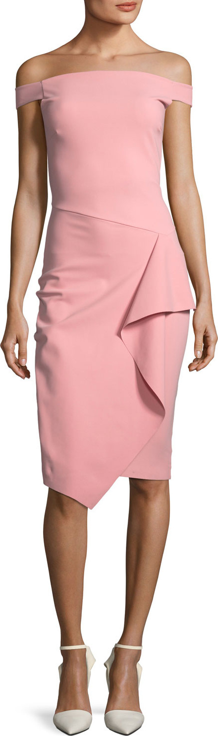 La Petite Robe di Chiara Boni Kriti Off-the-Shoulder Draped Cocktail Dress