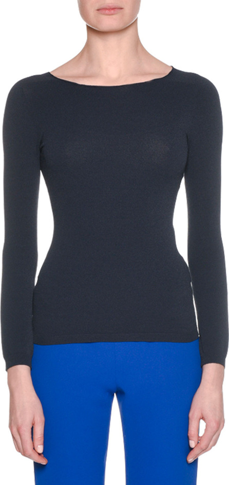 Giorgio Armani Long-Sleeve Round-Neck Fitted Pullover Knit Top, Navy