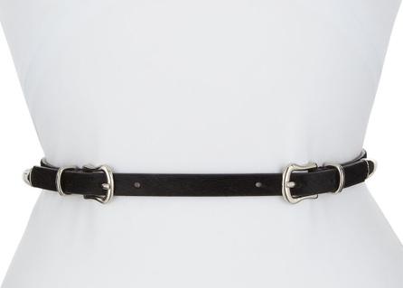 Veronica Beard Luma Double-Buckle Calf Hair Belt