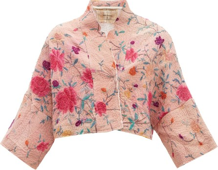 By Walid Lamia floral-embroidered silk jacket