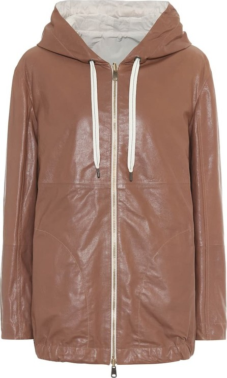 Brunello Cucinelli Reversible leather and cotton jacket
