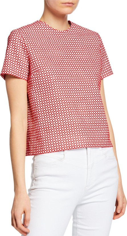 Anaïs Jourden Faux-Leather Embroidered Short-Sleeve Top