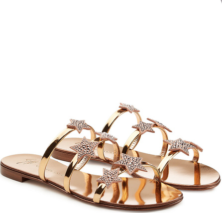 Giuseppe Zanotti Star Embellished Metallic Leather Sandals