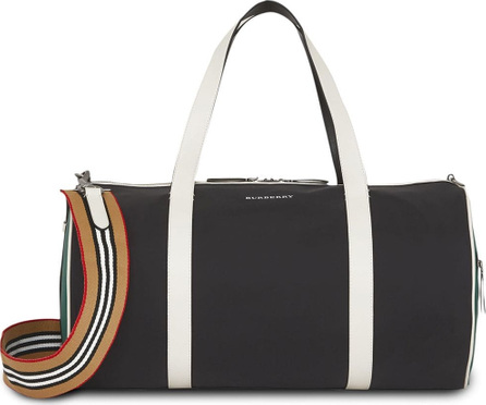 Burberry London England Medium Tri-tone Nylon and Leather Barrel Bag