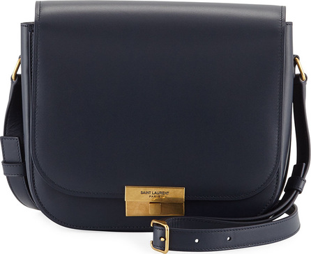 Saint Laurent Medium Calfskin Leather Flap Crossbody Bag with Logo Lock