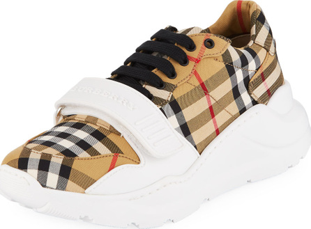 Burberry London England Regis Check Low-Top Sneakers with Exaggerated Sole