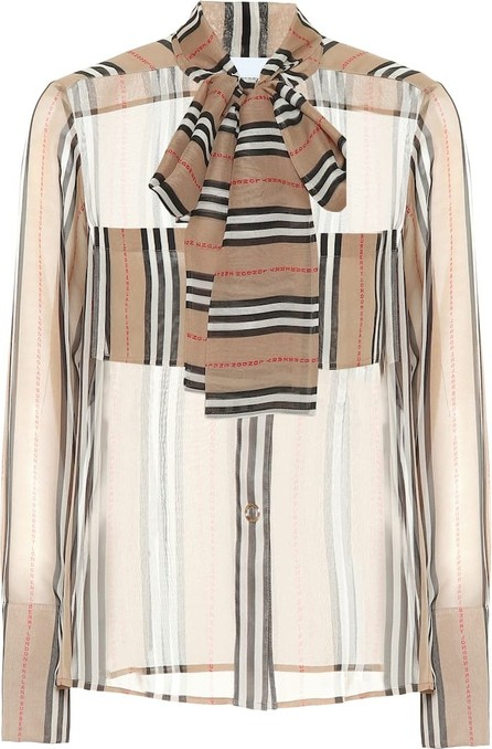 Burberry London England Amelie striped silk blouse