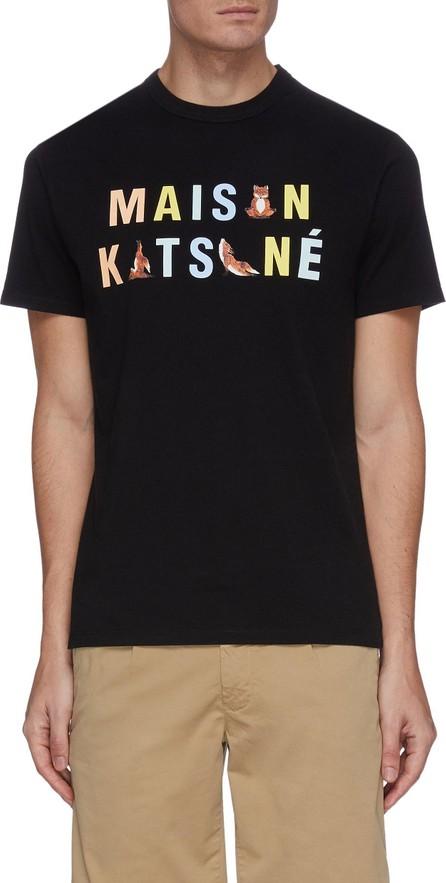 Maison Kitsune Rainbow yoga fox logo print T-shirt