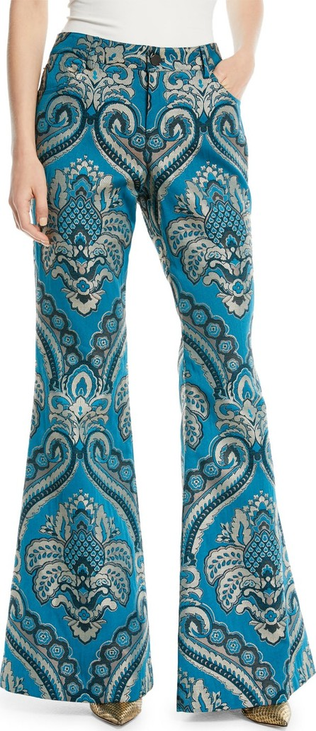 Alice + Olivia Ryley High-Rise Damask-Jacquard Bell Pants