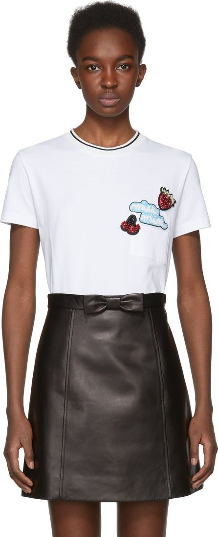 Miu Miu White Sequinned Fruit Patch T-Shirt
