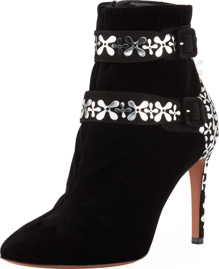 Alaïa Velvet Flower-Embellished Two-Buckle Ankle Booties