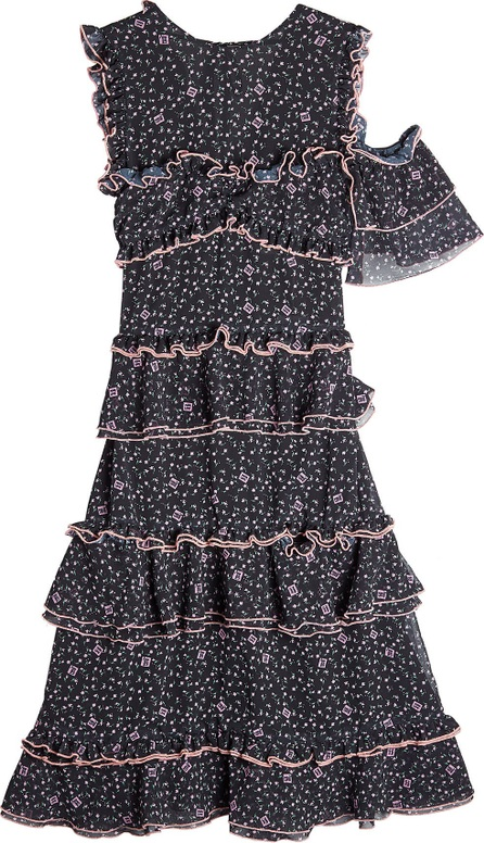 Sandy Liang Printed Dress with Cold Shoulder