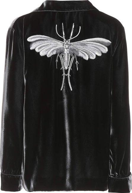 For Restless Sleepers Embroidered velvet shirt