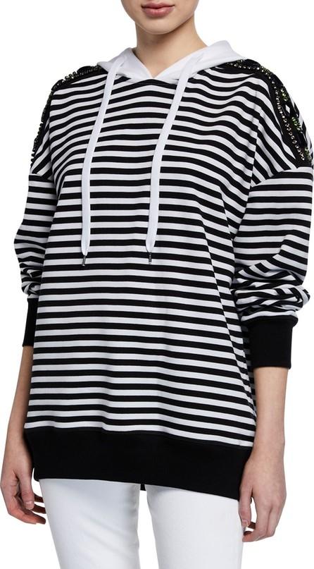 Nº21 Cotton Stripe Drawstring Hoodie w/ Embellishments