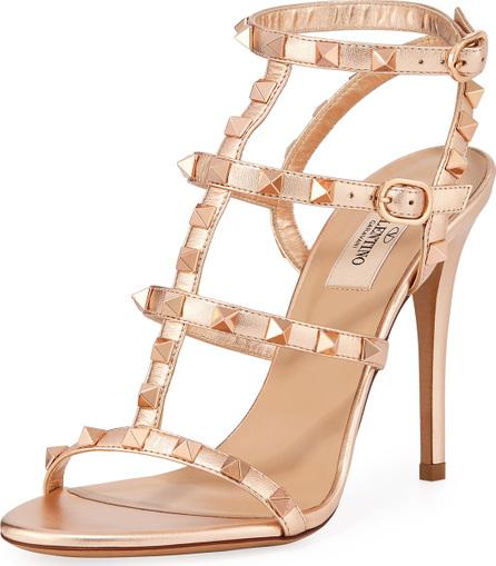 Valentino Rockstud Caged Metallic Sandals
