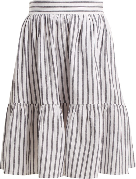 Wiggy Kit Striped cotton and linen-blend skirt