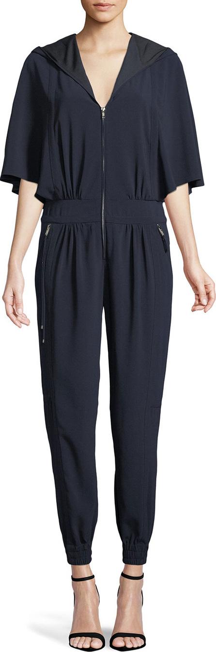 HALSTON HERITAGE Cape-Sleeve Hooded Zip Jumpsuit