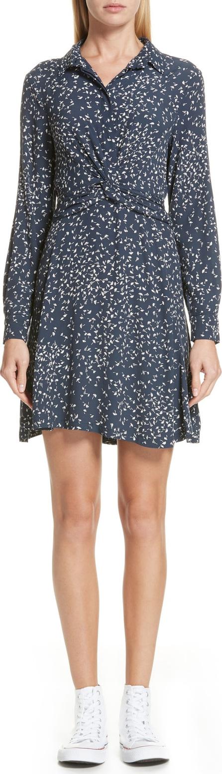 Ganni Barra Dot Twist Front Crepe Shirtdress