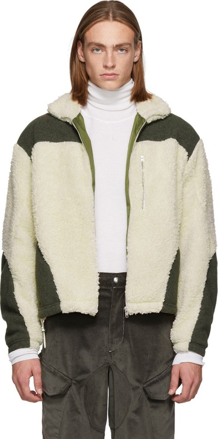 GmbH Green & Off-White Teddy Fleece Kol Zip-Up Sweater