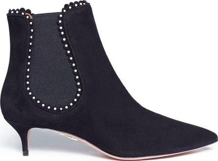 Aquazzura 'Jicky 45' faux pearl suede Chelsea boots