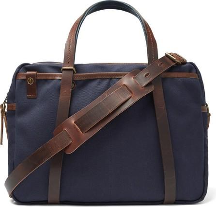 Bleu de Chauffe The Reporter Leather-Trimmed Waxed-Cotton Briefcase