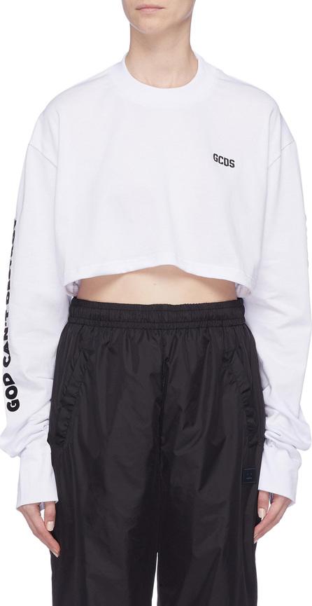 Gcds Logo velvet flock print cropped long sleeve T-shirt