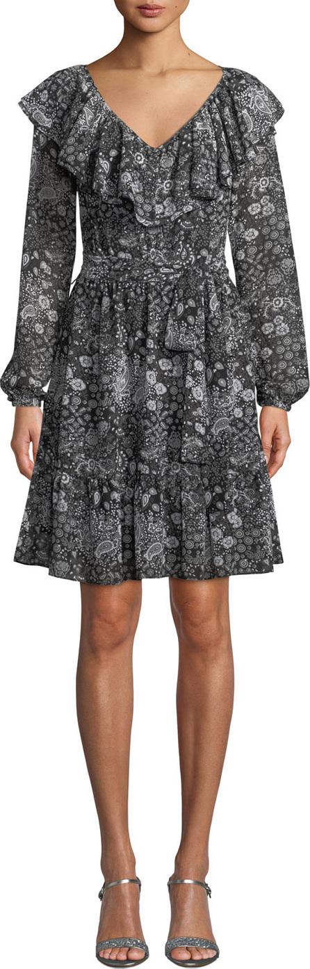 MICHAEL MICHAEL KORS V-Neck Ruffle Long-Sleeve Paisley-Print Dress