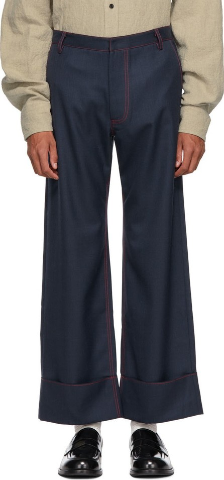 Chin Mens Navy & Red Patch Pocket Trousers