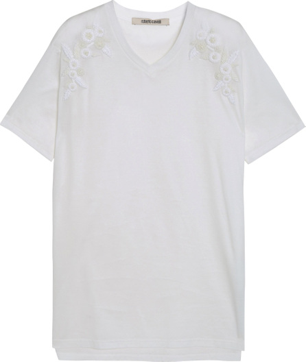 Roberto Cavalli Embellished cotton-jersey T-shirt