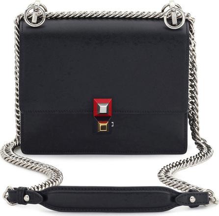 Fendi Kan I Mini Leather Chain Shoulder Bag, Black