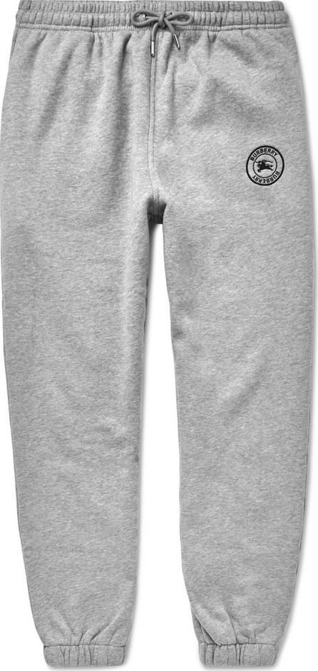 Burberry London England Embroidered Mélange Fleece-Back Cotton-Blend Jersey Sweatpants