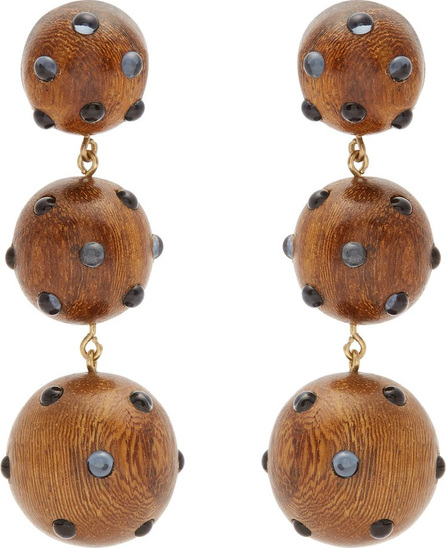 Rebecca de Ravenel Three Drop wood and glass clip-on earrings