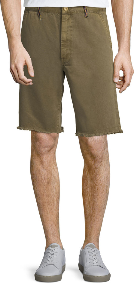 FRAME DENIM Men's Raw-Hem Twill Shorts with Rock-Climbing Rope Trim