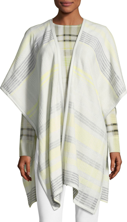 St. John Felted Plaid Knit Wrap w/ Leather Trim