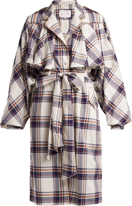 Johanna Ortiz Memoria del Viento checked cotton trench coat