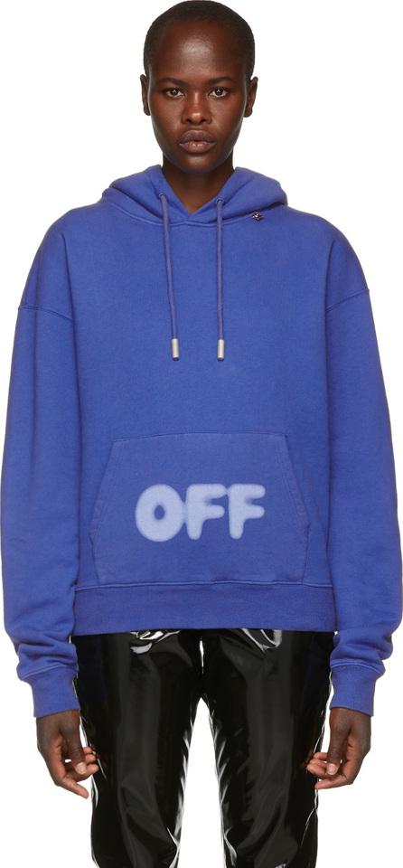 Off White Blue Blurred Logo Hoodie