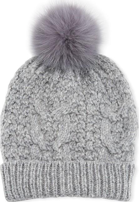 Il Borgo Cable Knit Beanie Hat w/ Fur Pompom