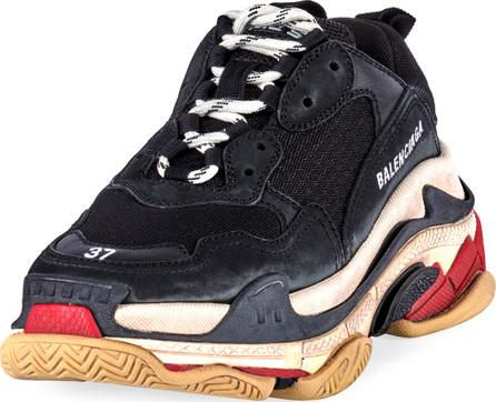 Balenciaga Triple S Mesh & Leather Trainer Sneaker, Noir