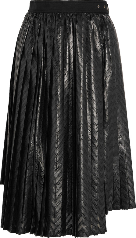 Noir Kei Ninomiya Pleated printed coated-jersey wrap skirt