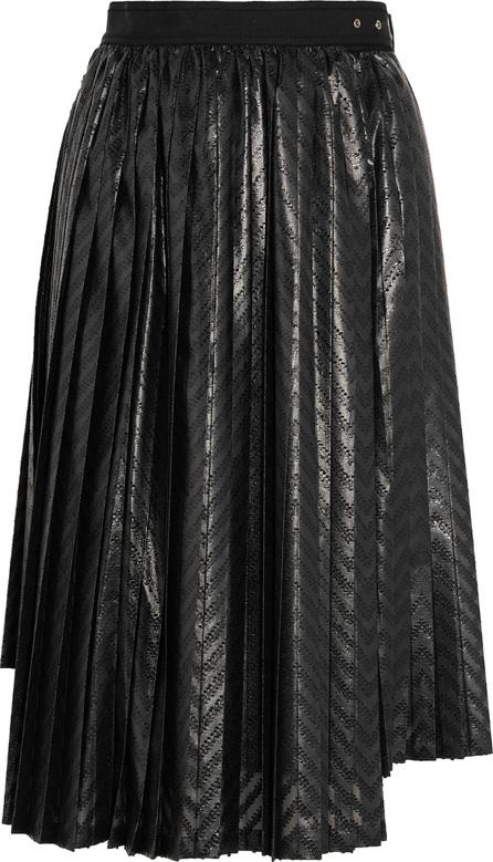 Noir Kei Ninomiya Pleated printed coated-jersey wrap skirt