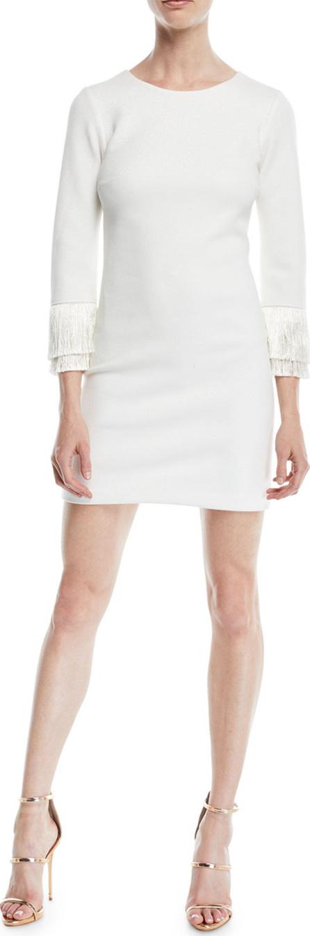 HALSTON HERITAGE Shimmer Knit Mini Cocktail Dress w/ Fringe Cuffs