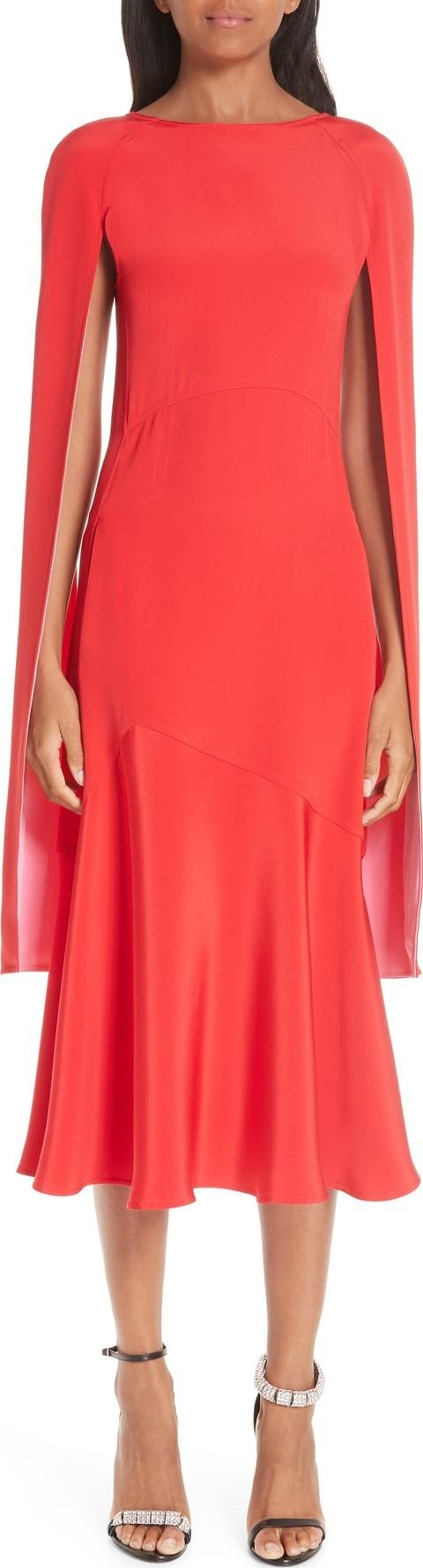 499d9726c8 Calvin Klein 205W39NYC Cape Sleeve Silk Cady Midi Dress - Mkt