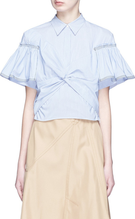 3.1 Phillip Lim Peplum yoke stripe twist poplin shirt