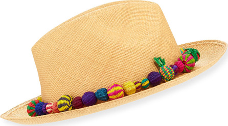 Valdez Panama Hats Bonita Straw Pompom Fedora Hat, Medium Brown
