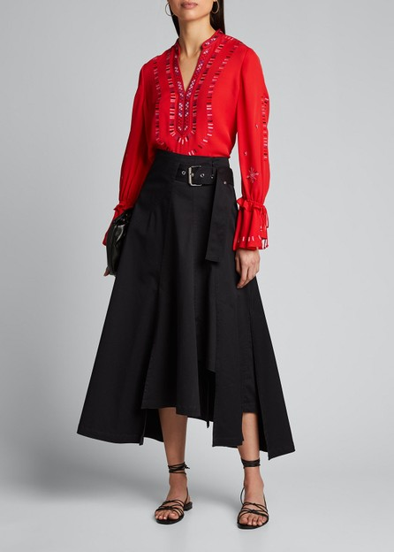 KOBI HALPERIN Junie V-Neck Bell-Sleeve Silk Blouse