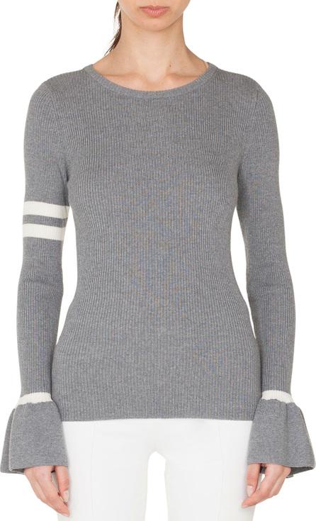 Akris Punto Crewneck Striped Long-Sleeve Wool Knit Pullover Sweater